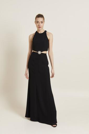 Siyah Aksesuarlı Beli Dekolteli Elbise