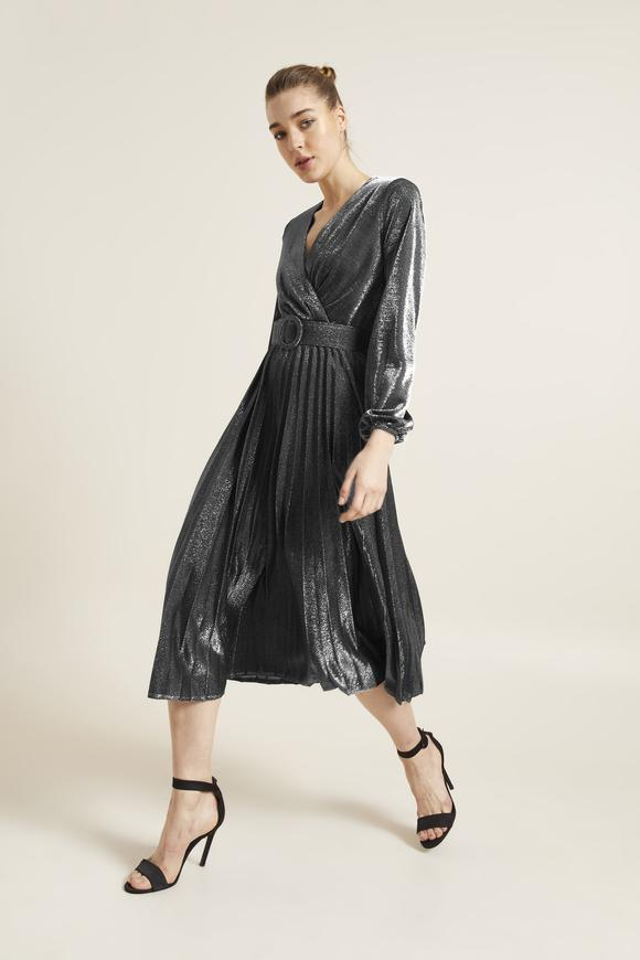 Gri Kemerli Örme Pliseli Elbise