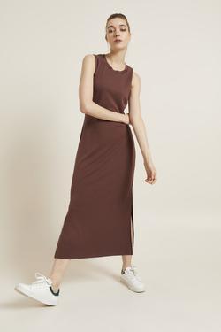 Örme Kolsuz Yırtmaçlı Elbise