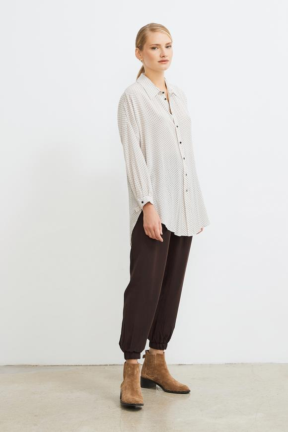 Yandan Bağlamalı Desenli Bluz