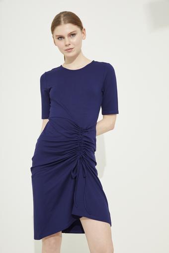 Lacivert Kısa Kol Büzgülü Örme Elbise