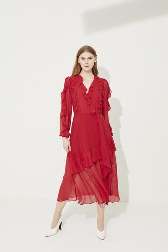 Kırmızı Volanlı Şifon Elbise