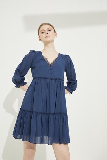 Lacivert Dantel Detaylı V Yaka Pamuk Elbise