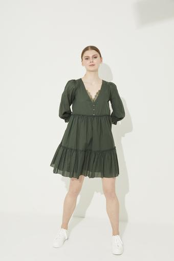 Yeşil Dantel Detaylı V Yaka Pamuk Elbise