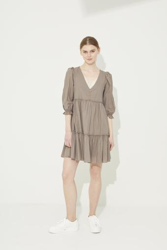 Kahverengi Dantel Detaylı V Yaka Pamuk Elbise