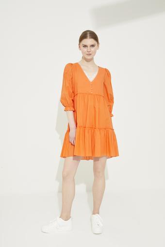 Turuncu Dantel Detaylı V Yaka Pamuk Elbise