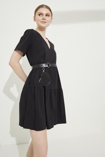 Siyah V Yaka Poplin Elbise