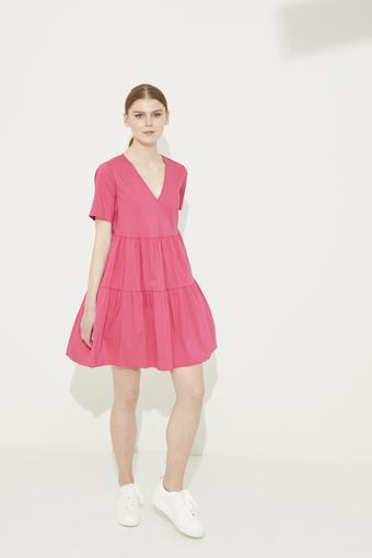 Pembe V Yaka Poplin Elbise