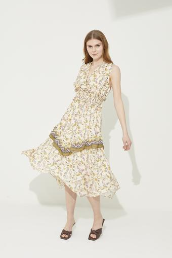 Sarı Beli Gipeli Asimetrik Elbise