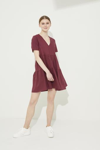 Bordo V Yaka Poplin Elbise