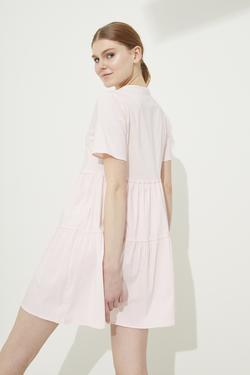 V Yaka Poplin Elbise