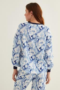 Ribanalı Batik Desenli Bluz