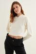 Ribanalı Kapüşonlu Crop Sweatshirt