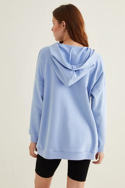 Cepli Kapüşonlu Örme Swetshirt