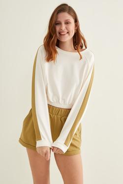 Kontrast Şeritli Crop Sweatshirt