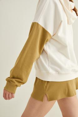 Kolları Kontrast Renkli Sweatshirt