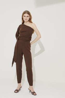 Yün Karışımlı Paçası Ribanalı Triko Pantolon