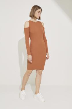 Omuzları Açık Triko Elbise