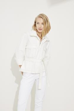 Beli Kuşaklı Cepli Jean Ceket