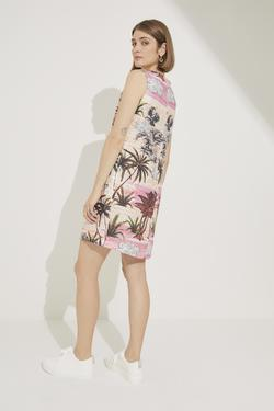 Desenli Kolsuz Mini Keten Elbise