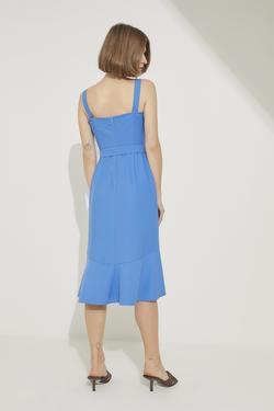 Etek Ucu Volanlı Kuşaklı Elbise