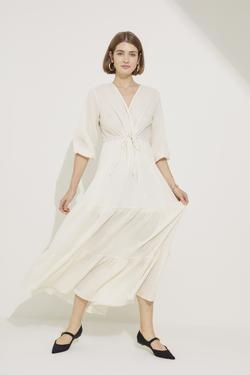 Beli Ayarlanabilir Çizgili Elbise