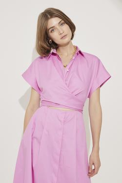 Beli Bağlamalı Pamuk Gömlek Elbise