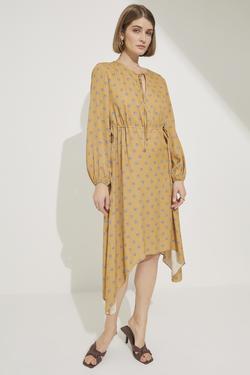 Beli Tünelli Asimetrik Elbise