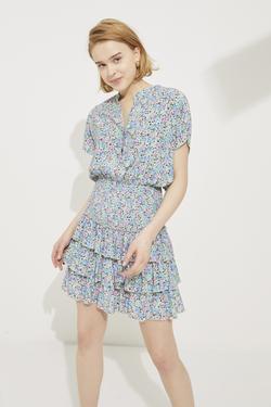 Eteği Volanlı Gipeli Mini Elbise