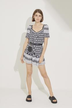 Yakası Fırfırlı Eteği Volanlı Mini Elbise
