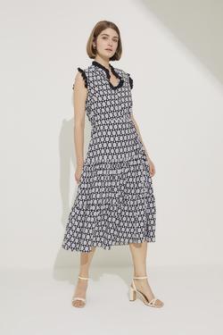 Fırfır Detaylı Beli Köprülü Elbise