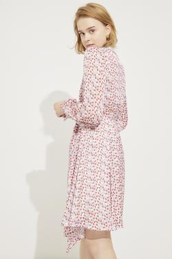 Yakası Dantelli Beli Kuşaklı Elbise