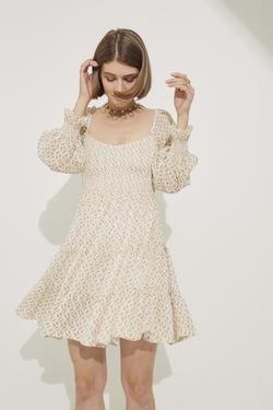 Eteği Büzgülü Gipeli Mini Elbise