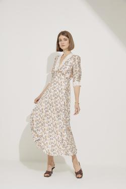 Dantel Detaylı V Yaka Saten Elbise