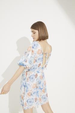 V Yaka Büzgülü Mini Şifon Elbise