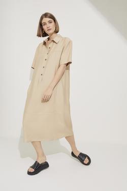Gömlek Yaka Yarım Patlı Kısa Kol Elbise