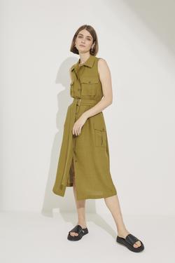 Kolsuz Gömlek Yaka Cepli Elbise