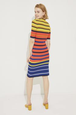 Kısa Kollu Çizgili Triko Elbise