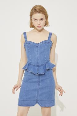 Askılı Beli Volanlı Jean Elbise