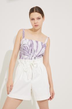 Desenli Askılı Crop Bluz