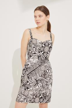 Desenli Askılı Örme Elbise