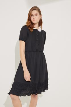 Yakalı Kısa Kol Mini Elbise