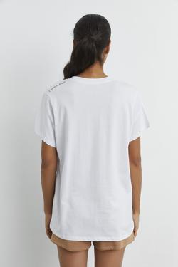Omuzu Baskılı Kısa Kollu Tişört