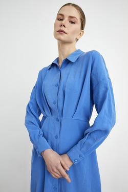 Gömlek Yaka Pileli Uzun Kollu Elbise