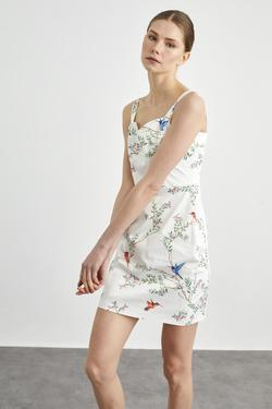 Desenli Askılı Saten Elbise