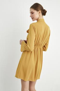 Kruvaze Volanlı Elbise