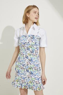 Desenli Askılı Volanlı Poplin Elbise