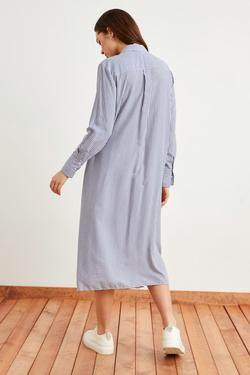 Yırtmaçlı Çizgili Gömlek Elbise
