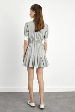Gömlek Yaka 3/4 Kol Volanlı Mini Elbise