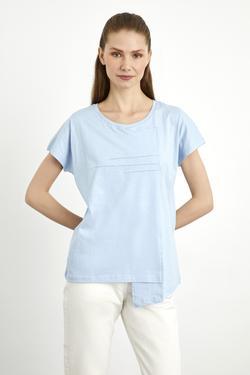 Kısa Kol Asimetrik  Dikiş Detaylı T-shirt